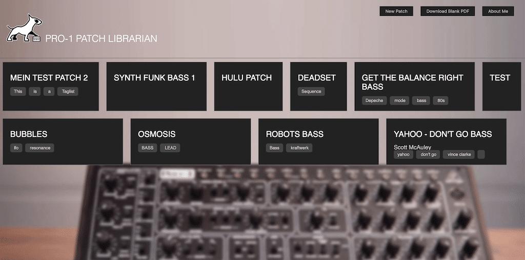Site pour enregistrer ses patchs du Behringer Pro-1
