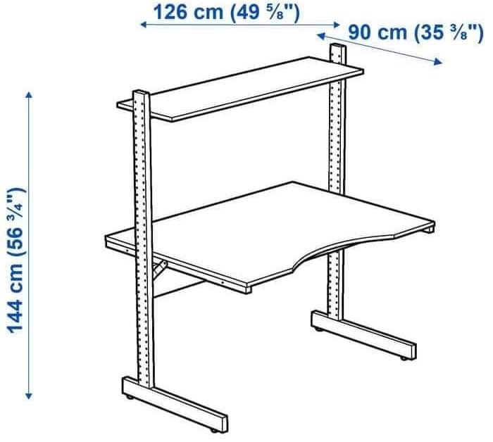 Les dimensions du bureau Ikea Jerker version 2