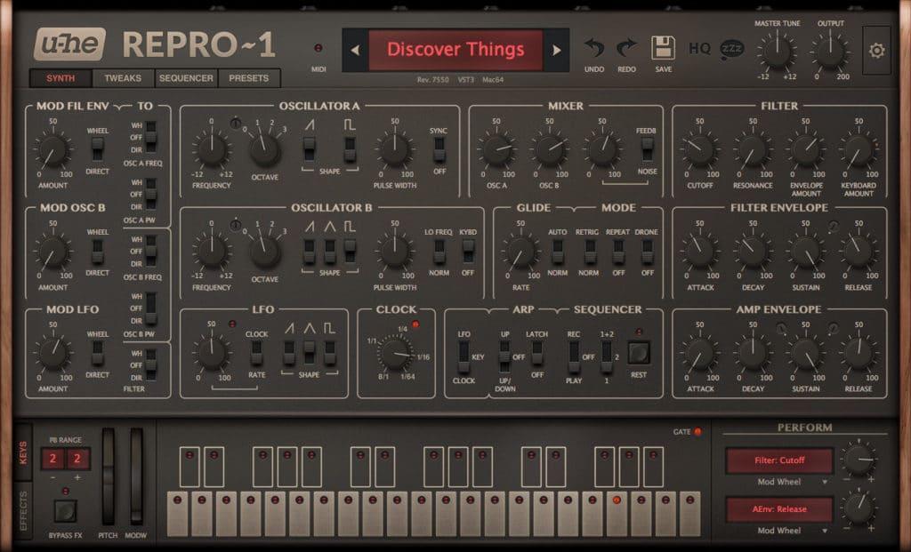La version virtuelle du Pro One, le UHE REPRO-1