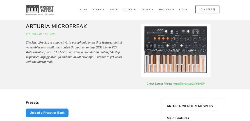 Le site Preset Patch pour télécharger des sons Arturia Microfreak
