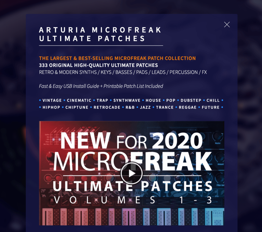 le site Ultimate patch, avec des banks payantes pour l'arturia microfreak
