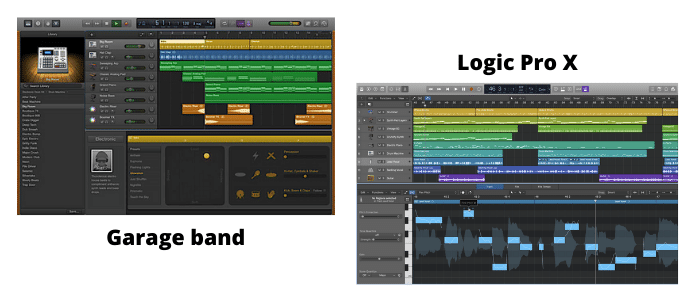 Illustration Garage Band et Apple Logic Pro X