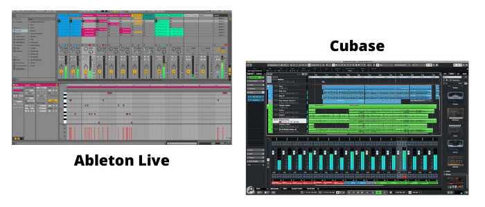 Illustration Ableton Live et Cubase