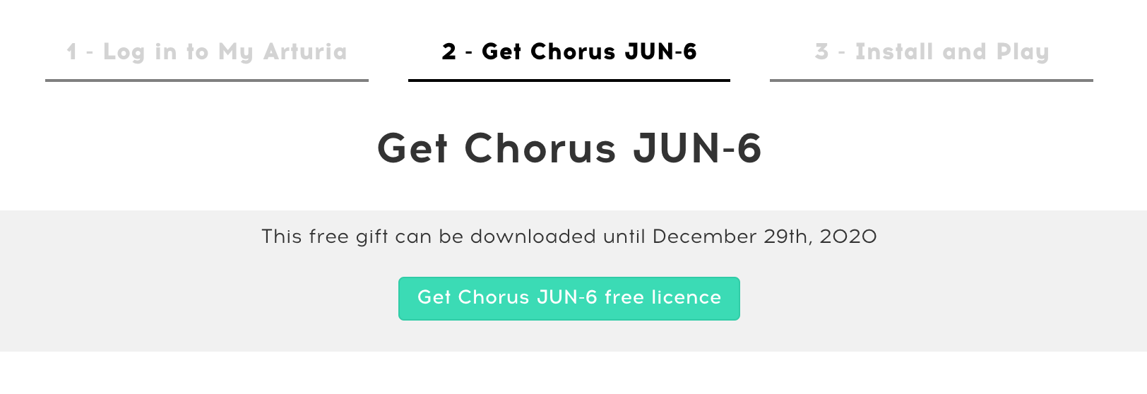 Arturia demande de licence pour le chorus Jun-6