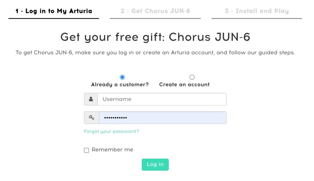 Site Arturia, connexion à votre compte