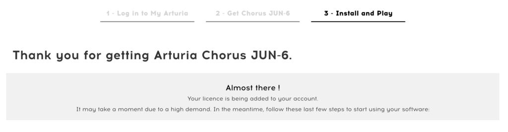 Message de confirmation du téléchargement de l'Arturia Chorus Jun-6