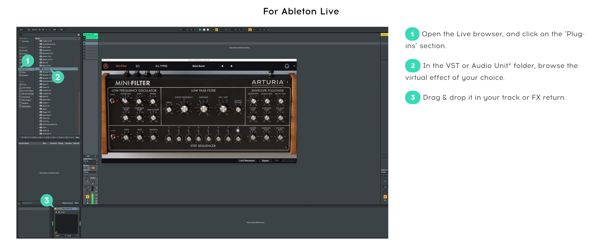 Ecran d'utilisation dans Ableton Live du chorus Arturia JUN-6