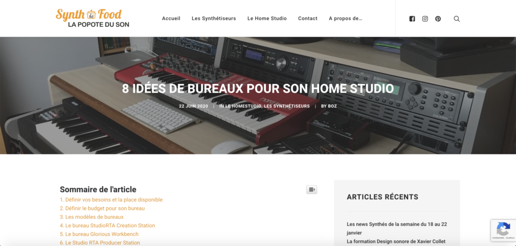Article SynthFood 8 idées de bureau pour son home studio