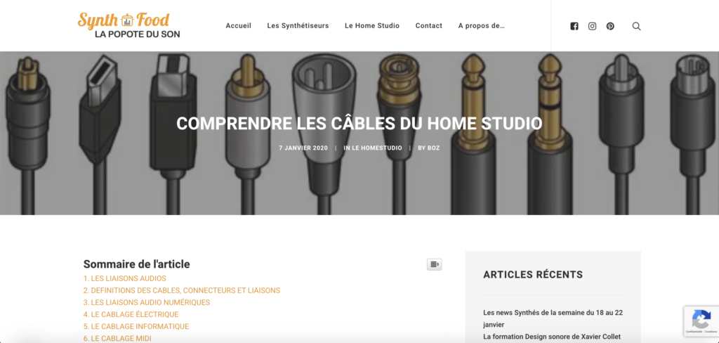 Article sur les câbles du home studio SynthFood