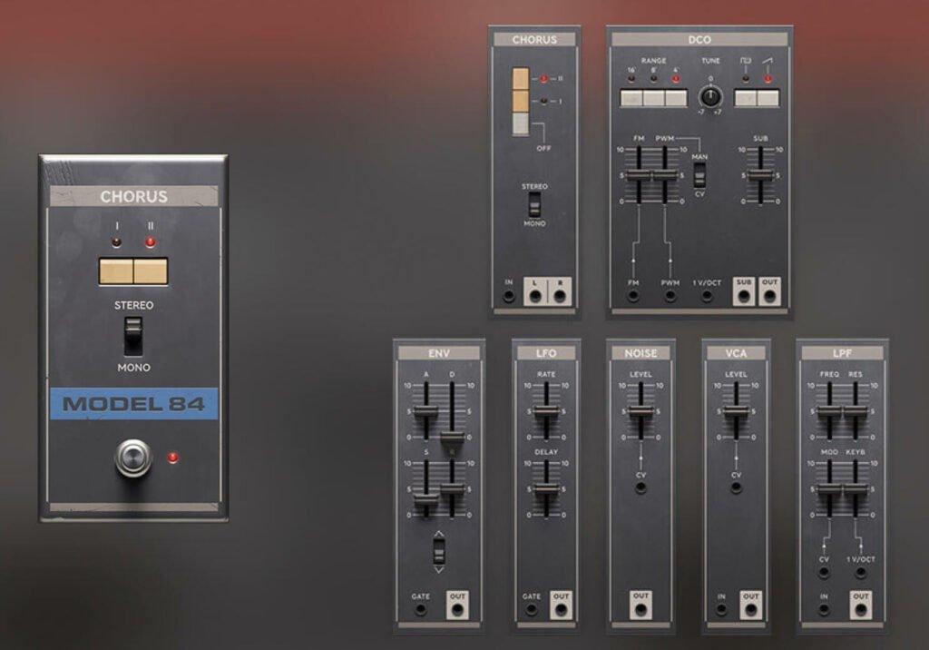 Le Roland Juno 106 fourni en modules séparés pour l'utiliser avec Modular