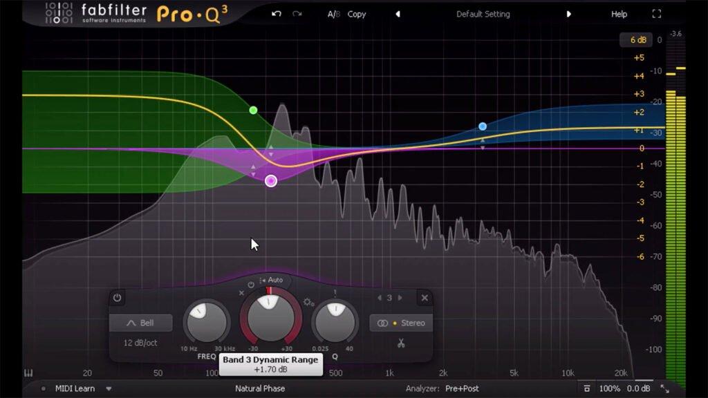 Un équaliseur pour vous aider à observer et à corriger les fréquences, ici Fabfilter Pro-Q 3